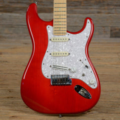 Fender American Deluxe Stratocaster MN Transparent Red 2000 (s978)