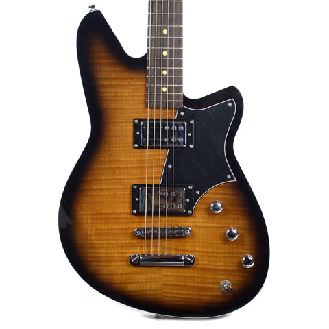 Reverend Descent RA Baritone Hardtail Violin Burst Brown Flame Maple