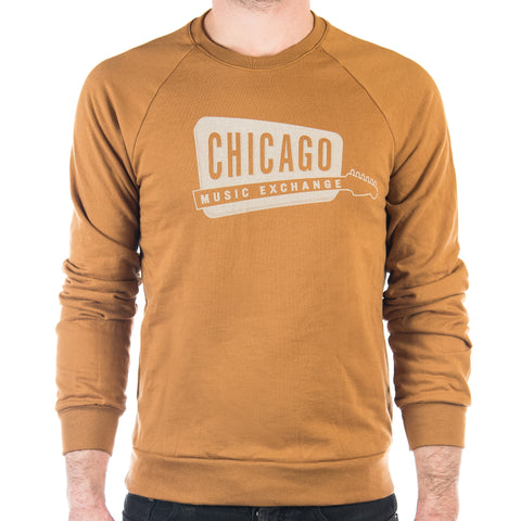 Chicago Music Exchange  California Fleece Raglan Camel w/Cream Logo
