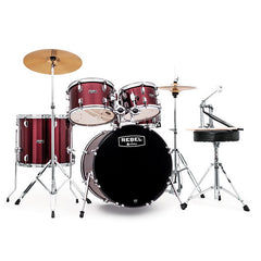 Mapex Rebel 10/12/14/20/5x14 5pc Jazz Drum Kit Complete Set Up Red