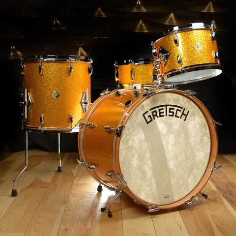 Gretsch USA Custom Broadkaster 12/14/20/5.5x14 4pc Drum Kit Gold Sparkle Floor Model