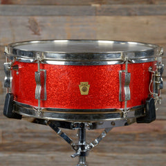 Ludwig 5x14 Pioneer Snare Drum Red Sparkle Early 1960s USED