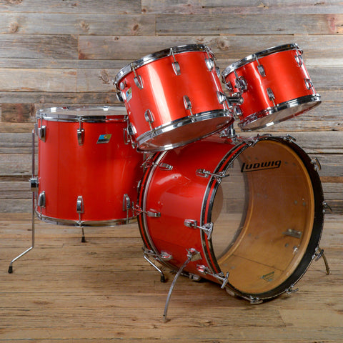 Ludwig 13/14/18/22 4pc Drum Kit Red Silk Early 1970s USED