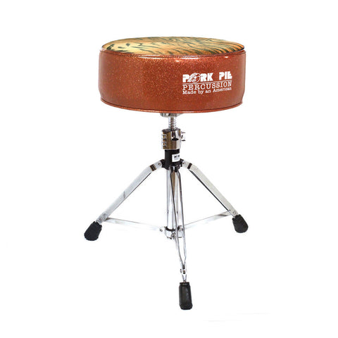 Pork Pie Orange Sparkle / Tiger Print Round Drum Throne Swivel Base