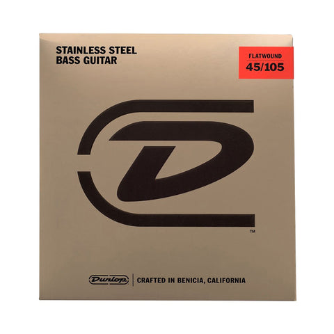 Dunlop Stainless Steel Flatwound Bass Strings Medium 45-105