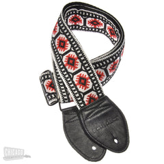 Souldier Guitar Strap - White, Red & Black Pillar (Black Belt & Ends)
