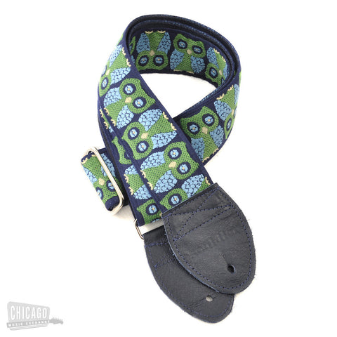 Souldier Guitar Strap - Navy Blue Owls (Navy Blue Ends)
