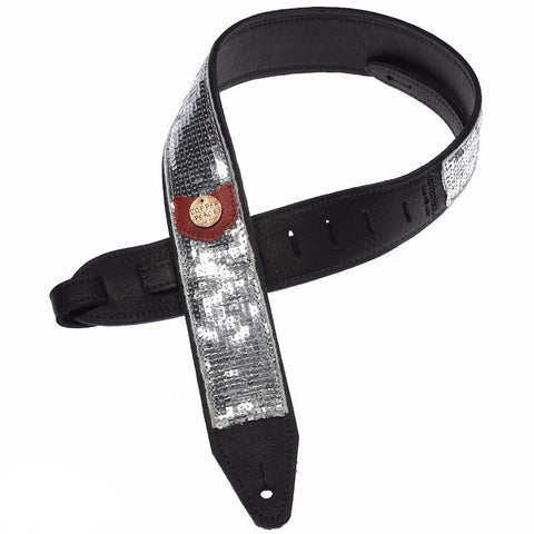 Copperpeace Glovely Guitar Strap Silver Sequins & Black Baseball Leather