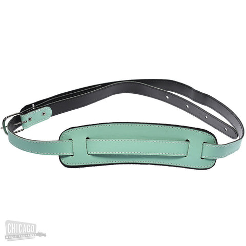 Airline Vintage Leather Guitar Strap Seafoam Green