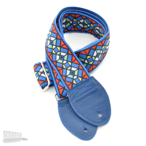 Souldier Guitar Strap - Blue Stained Glass Pattern