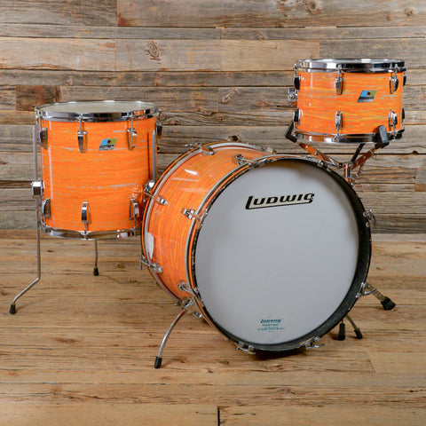 Ludwig 12/14/20 3pc Downbeat Drum Kit Mod Orange Early 1970s USED