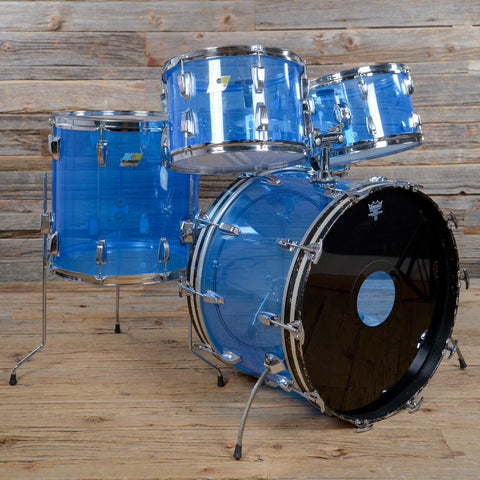 Ludwig 12/13/16/22/5x14 Vistalite Drum Kit Blue 1970s