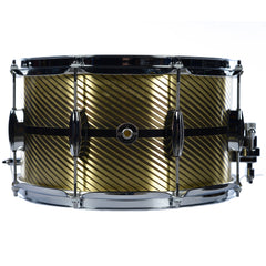 Q Drum Co. 8x14 Brass Plate Black Inlay Snare Drum w/Striped Patina