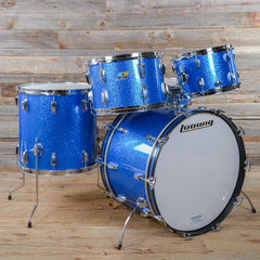 Ludwig 12/13/16/22/5x14 5pc Drum Kit w/Jazz Festival Blue Sparkle Early 1970s