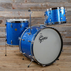 Gretsch 13/16/22 3pc Round Badge Drum Kit Blue Sparkle (Glass Glitter) 1960s