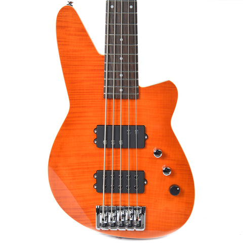 Reverend Mercalli 5 Bass Trans Orange Flame Maple