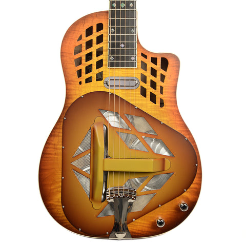 National M1 Tricone Cutaway Figured Maple w/Abalone Inlays and Lollar Tele Pickup (Serial #21509)