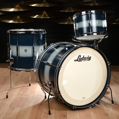 Ludwig Club Date Vintage 12/14/20 3pc Drum Kit Blue/Silver Duco