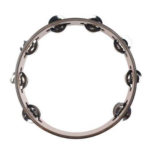 Meinl 1 Row Stainless Steel Jingle Wood Tambourine Walnut Brown