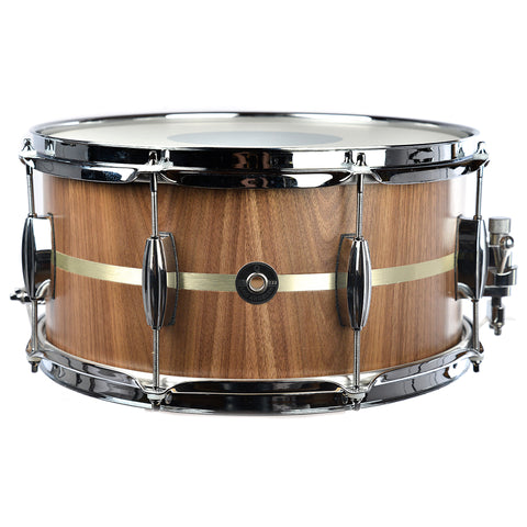 Q Drum Co. 7x14 Satin Walnut/Maple Snare Drum w/Brushed Brass Inlay