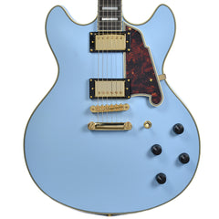 D'Angelico Deluxe DC Semi Hollow Double Cutaway Stop Bar Tailpiece Matte Powder Blue