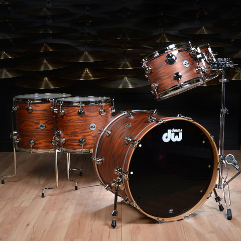 DW Pure Oak 5pc Drum Kit Hard Satin Tobacco w/Nickel