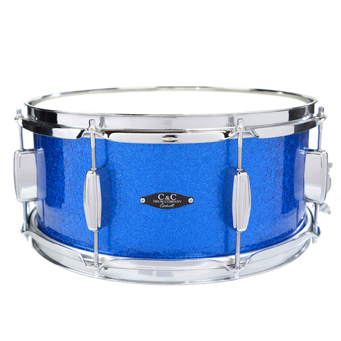 C&C 6.5x14 Player Date 1 Snare Drum with 2 inner plies of Maple - Blue Sparkle