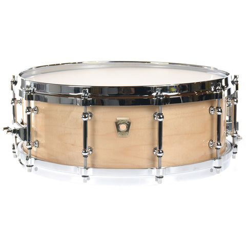 Ludwig 5x14 Classic Maple Snare Drum Chrome Cast Hoops, Tube lugs, P86, Brass Badge (Nat Maple)