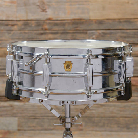 Ludwig 5x14 Super Chrome Over Brass Pre-Serial Snare Drum Early 1960s USED