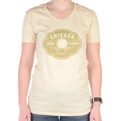 Chicago Drum Exchange Women's T-Shirt Creme/Gold Classic Logo