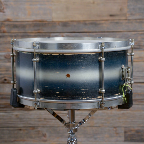 Ludwig 6.5x14 Universal Snare Drum w/Tube Lugs & Single Flange Hoops Blue & Silver Duco 1941 USED