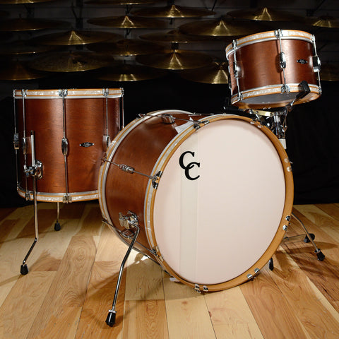 C&C Player Date 1 3pc Big Beat Drum Kit 13/16/22 Brown Mahogany w/Wood Hoops