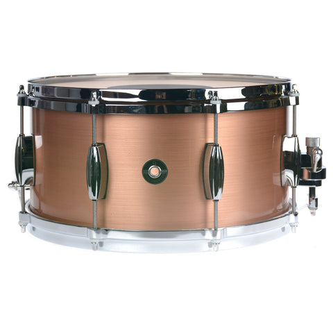 Q Drum Co. 7x14 Brushed Copper Snare Drum w/Die Cast Hoops