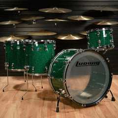 Ludwig 45th Anniversary Vistalite 13/16/18/24 4pc Drum Kit Green Sparkle