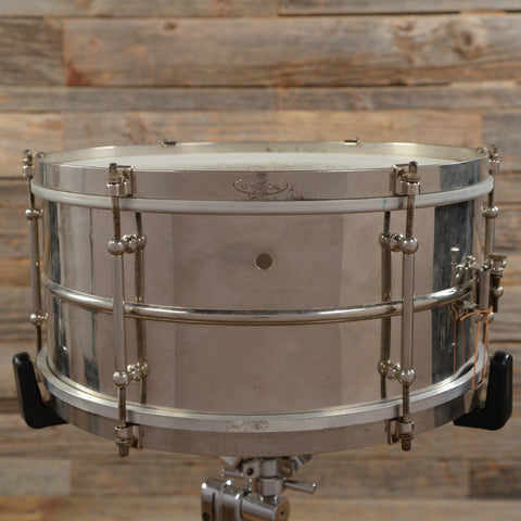 Ludwig 6.5x14 Universal Nickel Over Brass Snare Drum 1930s USED