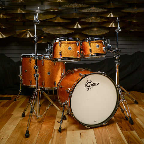 Gretsch Brooklyn 10/12/14/16/20 5pc Kit Gold Sparkle w/Matching 5.5x14