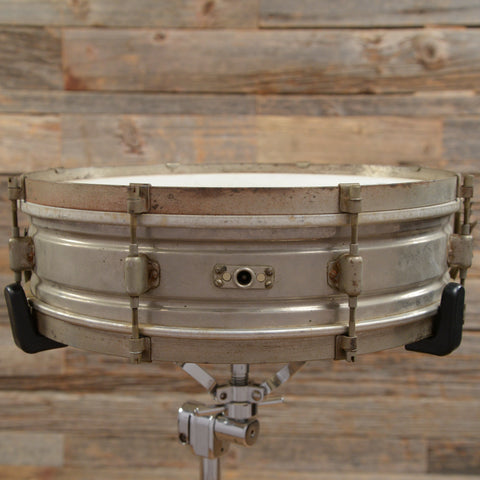 Leedy 4x15 Utility Model Nickel Over Brass Snare Drum Early 1930s USED