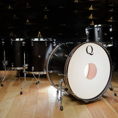 Q Drum Co. 13/16/18/24 Mahogany/Poplar/Mahogany 4pc Kit Black Natural Satin (Brushed Hardware)