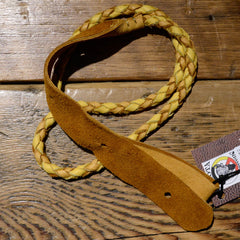 Lakota Leathers Mandolin Strap Round Braid 43 Inch Gold & Tan
