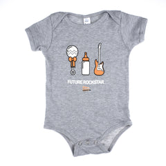 "Chicago Music Exchange ""Future Rockstar"" Baby Rib Short Sleeve One-Piece Heather Grey"