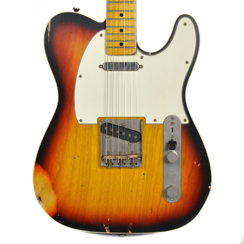 Nash T-63 Ash Double Bound 3-Tone Burst MN Medium Aging w/3-Ply White Pickguard & Lollar Pickups (Serial #3908)