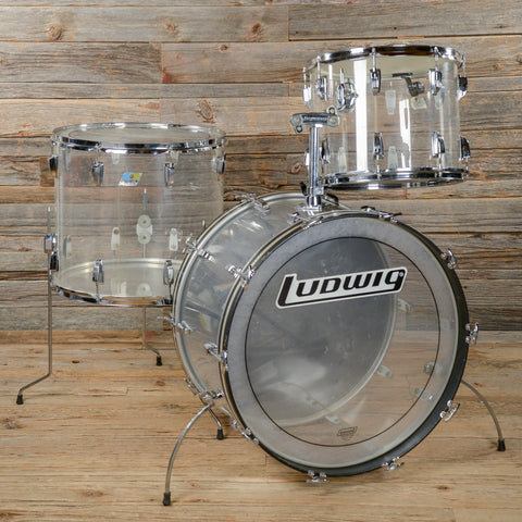 Ludwig 15/18/24 3pc Vistalite Drum Kit Clear 1970s USED