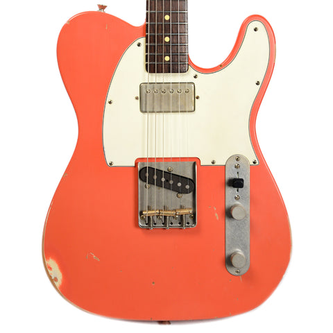 Nash T-63 Fiesta Red RW Light Relic w/3-Ply White Pickguard & Lollar T Bridge & Humbucker Neck (Serial #3452)