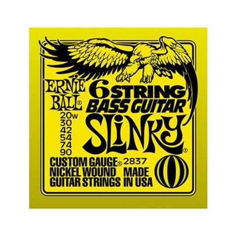 Ernie Ball 6 String Roundwound Bass Strings Short Scale Slinky 20-90
