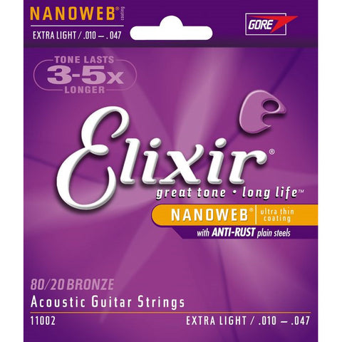 Elixir Nanoweb Extra Light Acoustic Guitar Strings 10-47