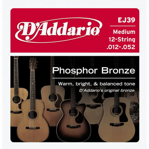 D'Addario EJ39 Phosphor Bronze Medium 12-String Acoustic Guitar String Set 12-52/30