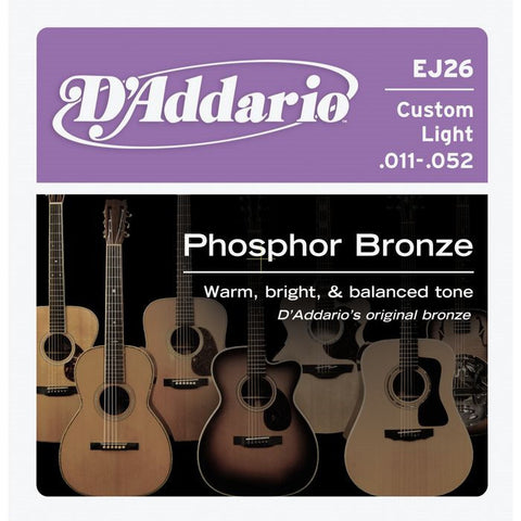 D'Addario EJ26 Phosphor Bronze Custom Light Acoustic Guitar Strings 11-52