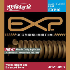 D'Addario EXP16 Coated Phosphor Bronze Light Acoustic Guitar Strings 12-53