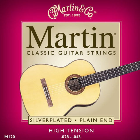 Martin M120 Silverplated Plain Ends Classical Acoustic Guitar Strings 28-43