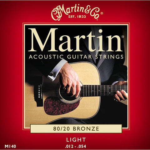 Martin M140 80/20 Bronze Light Acoustic Guitar Strings 12-54